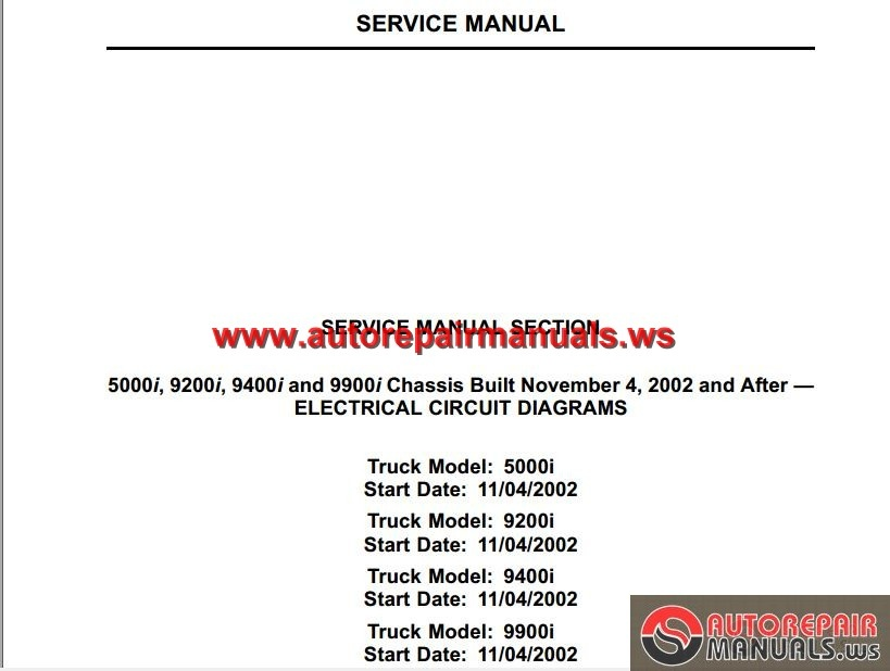 international truck 5000i 9200i 9400i and 9900i chassis built international truck 5000i 9200i 9400i and 9900i chassis built electrical circuit diagram size 1 2mb language english type pdf pages 88