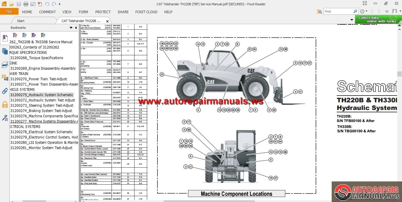 Cat Telehander Th220b Tbf Service Manual Auto Repair