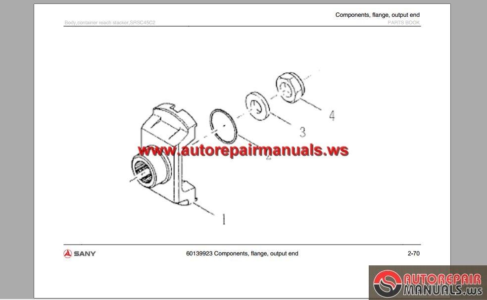 Sany Body Container Reach Stacker SRSC45C2 Parts Book | Auto Repair