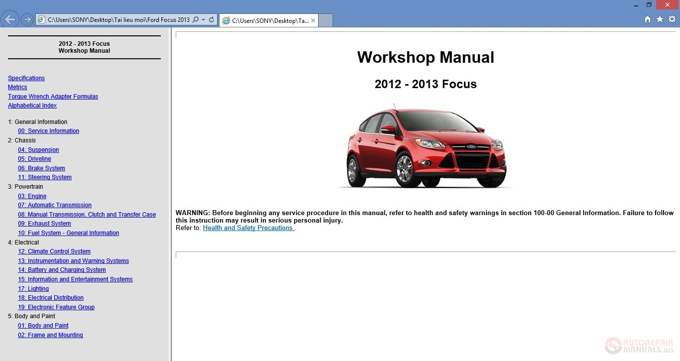 ford focus 2008 europe owners manual
