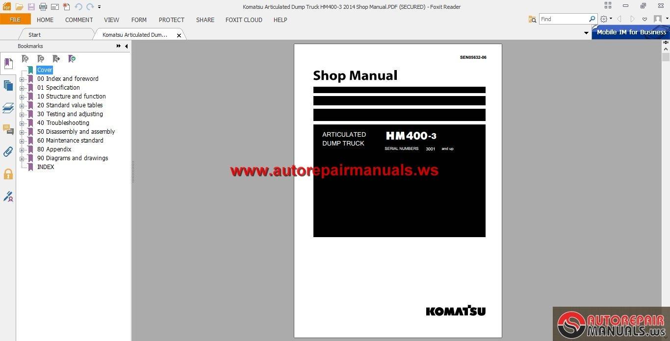 Komatsu Articulated Dump Truck HM400-3 Shop Manual | Auto