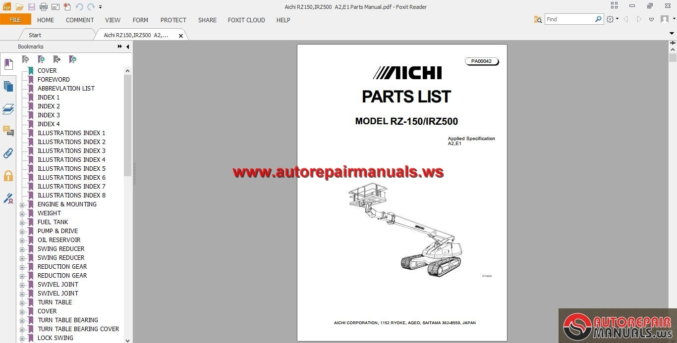 Aichi RZ150,IRZ500 A2,E1 Parts Manual | Auto Repair Manual Forum