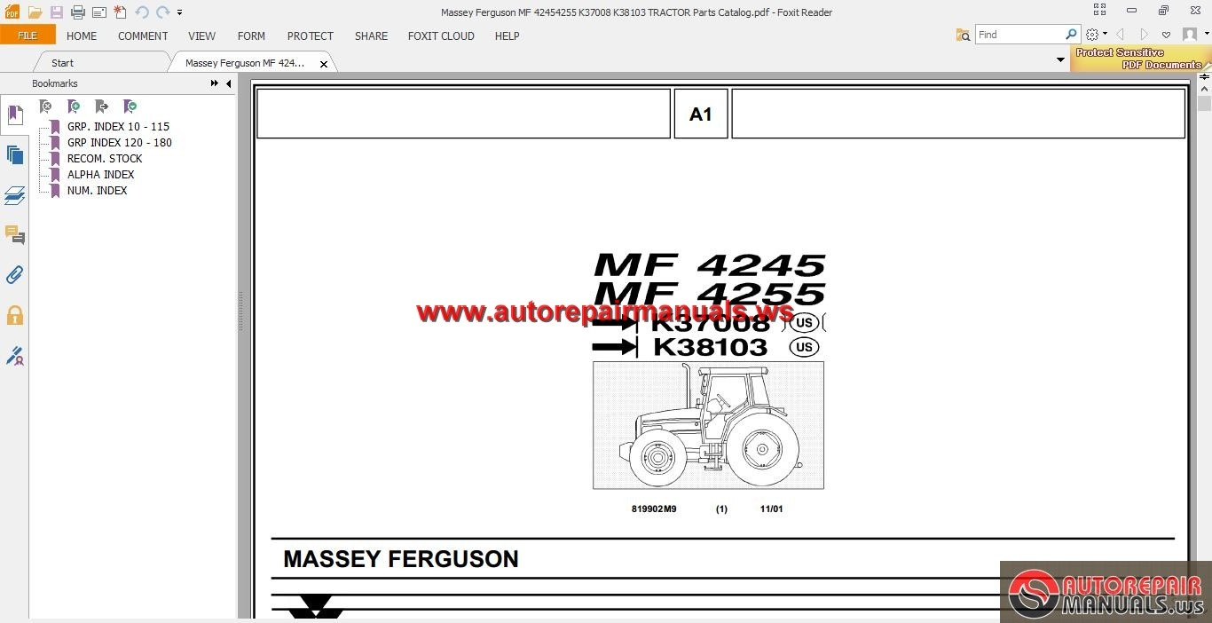 Massey Ferguson Tractors Parts Catalog : Massey ferguson mf  k tractor parts