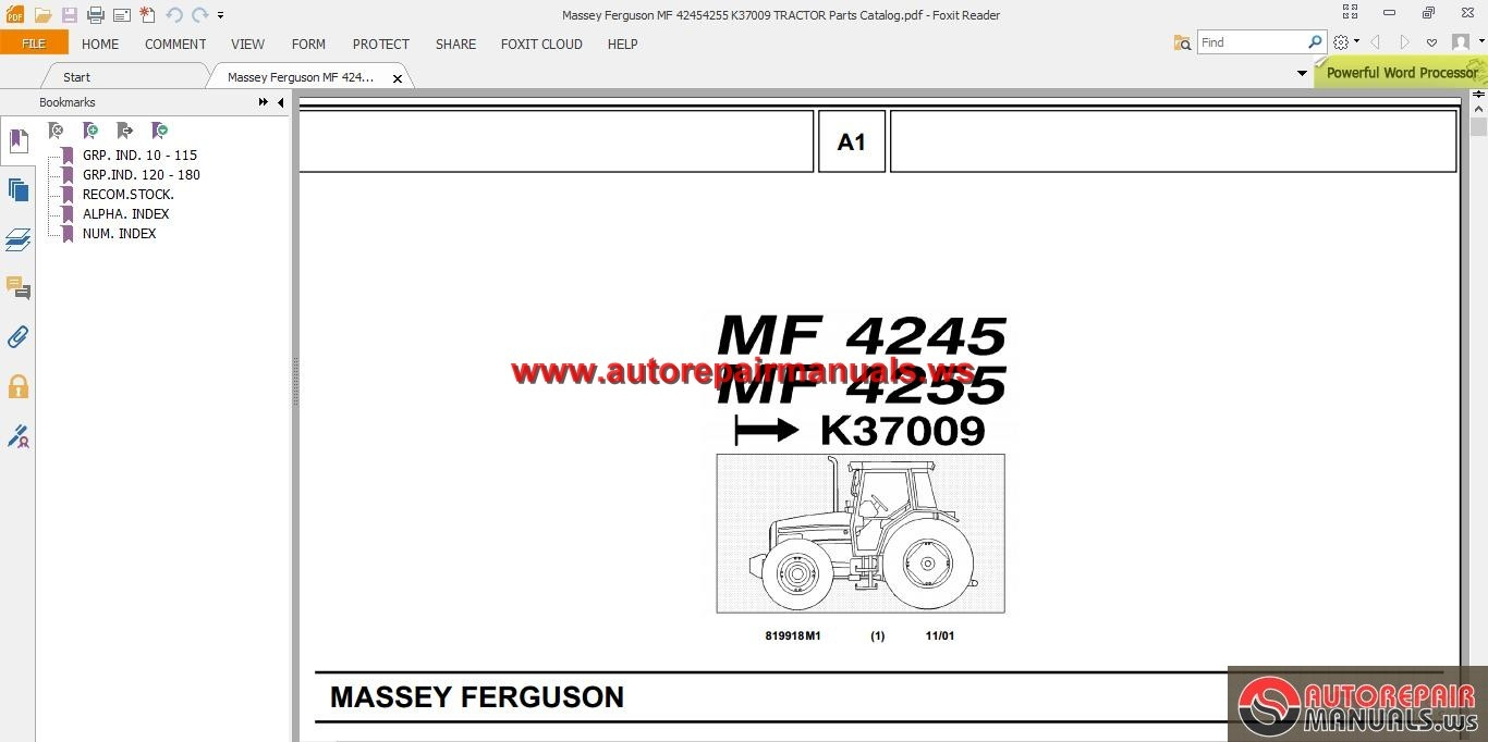 Massey Ferguson Tractors Parts Catalog : Tractor repair operator parts manuals autos post