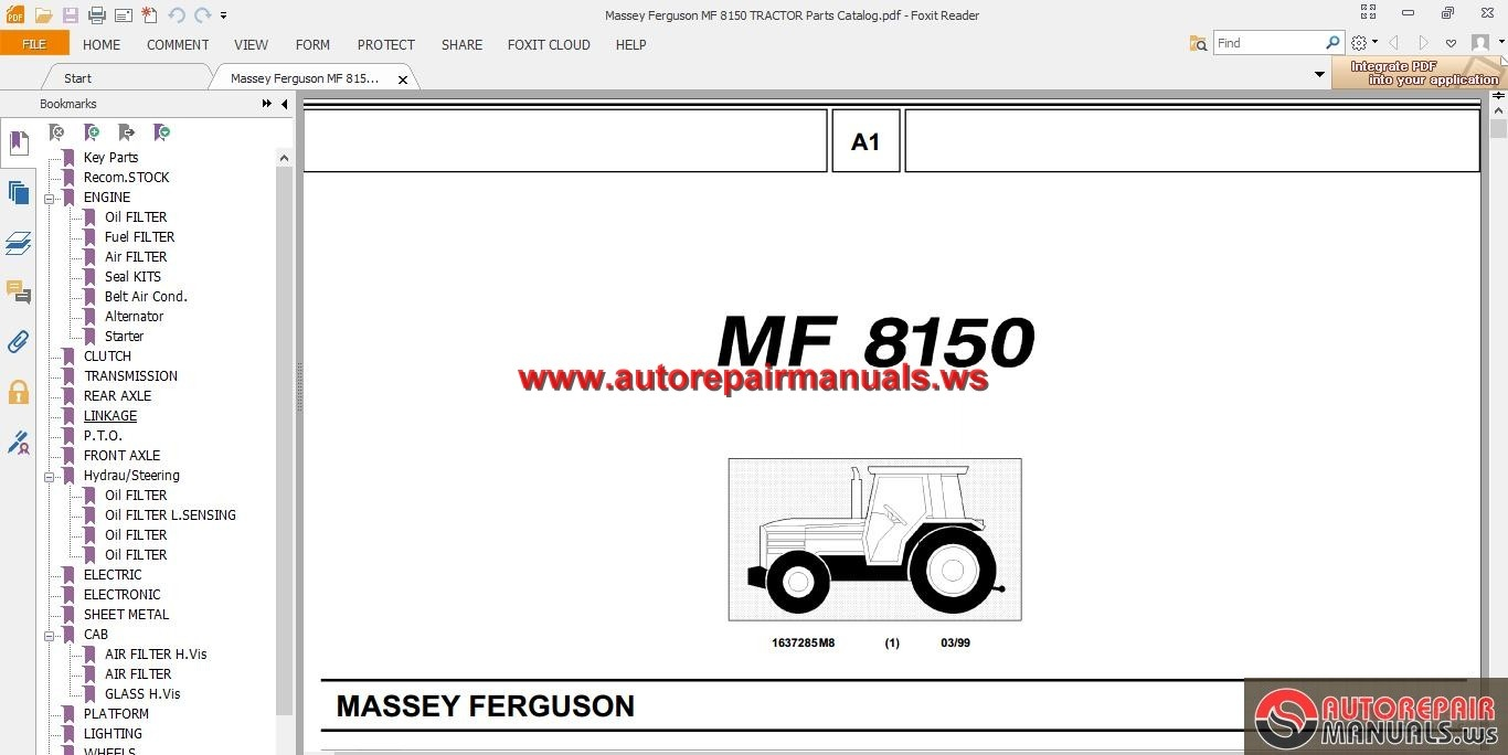 Massey Ferguson Mf 8150 Tractor Parts Catalog
