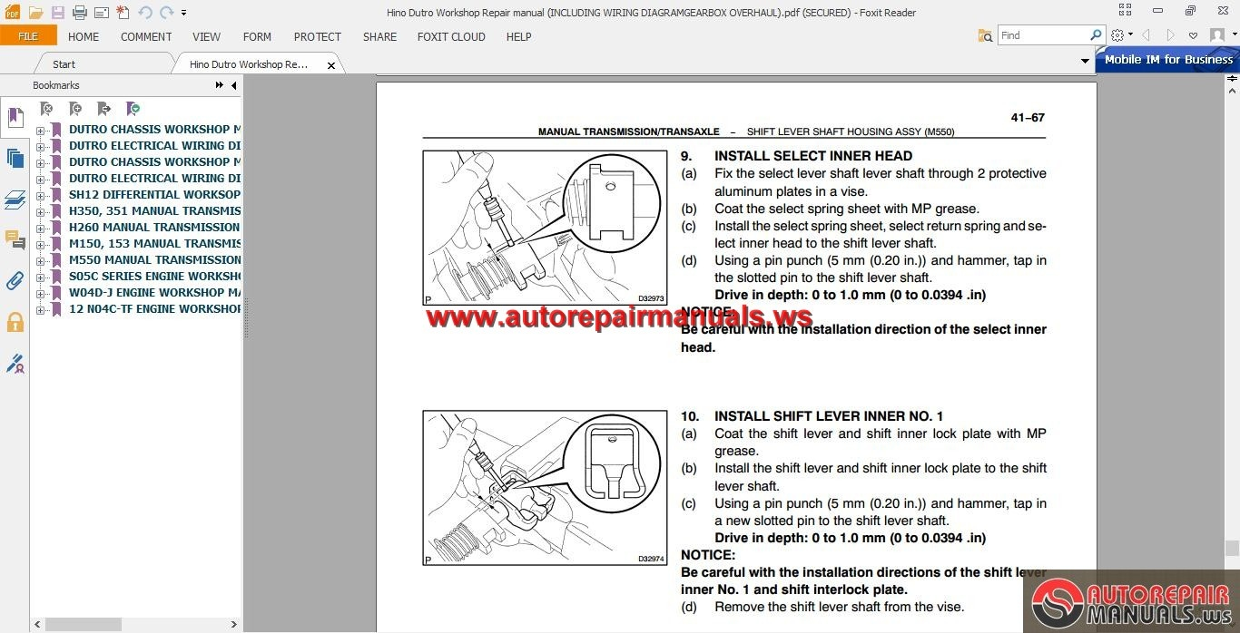 Hino Dutro Workshop Repair Manual Including Wiring Diagram  Gearbox Overhaul