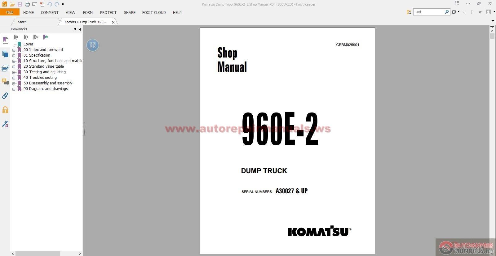 komatsu dump truck 960e 2 2 shop manual auto repair. Black Bedroom Furniture Sets. Home Design Ideas