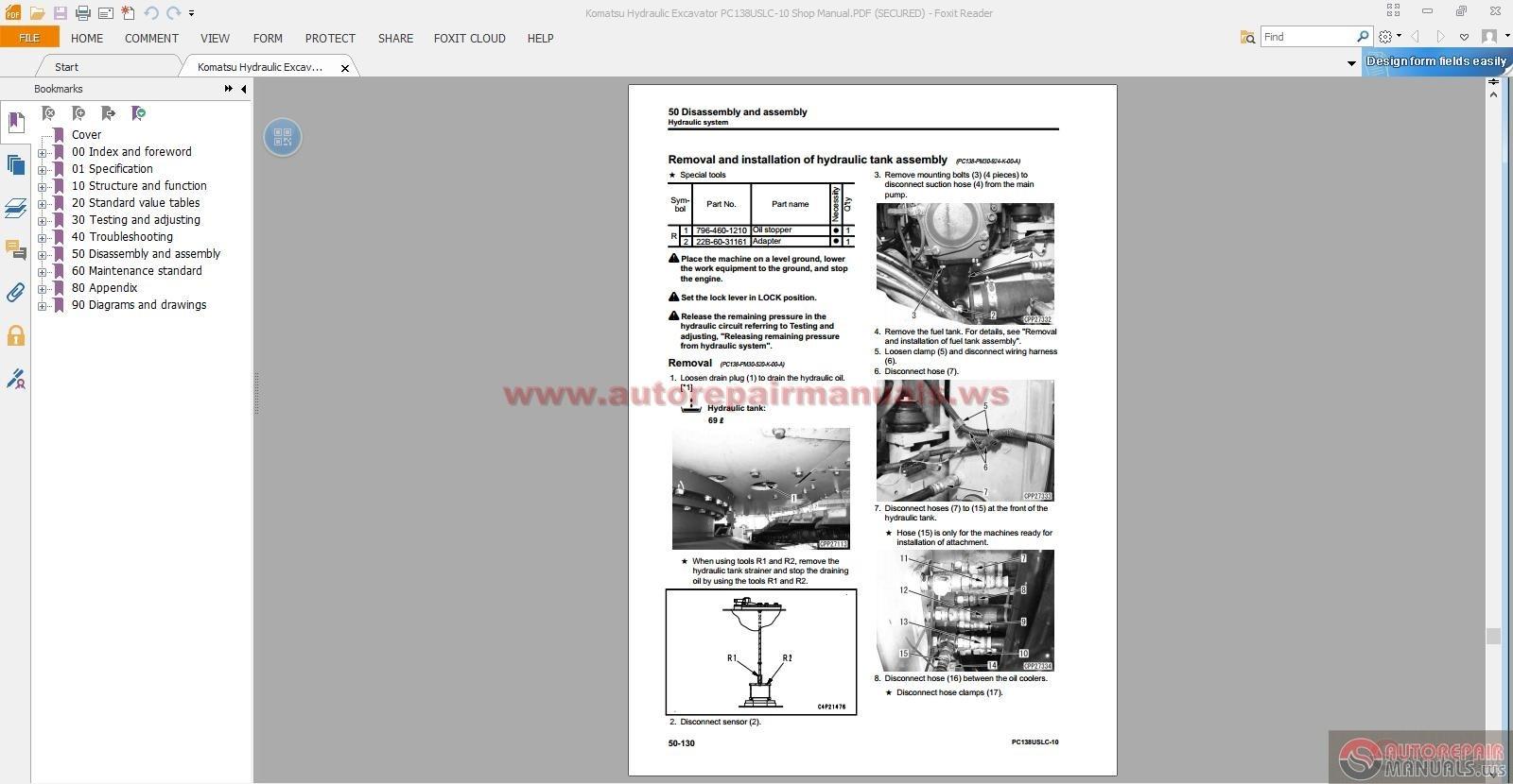 komatsu hydraulic excavator service manuals 2013 2014. Black Bedroom Furniture Sets. Home Design Ideas
