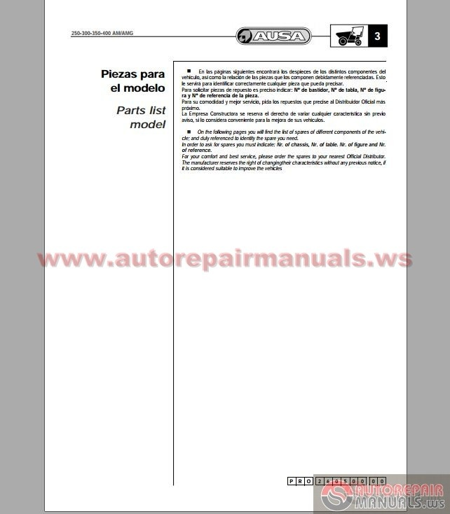 Ausa Dumper 250 Amg Spare Parts Catalog