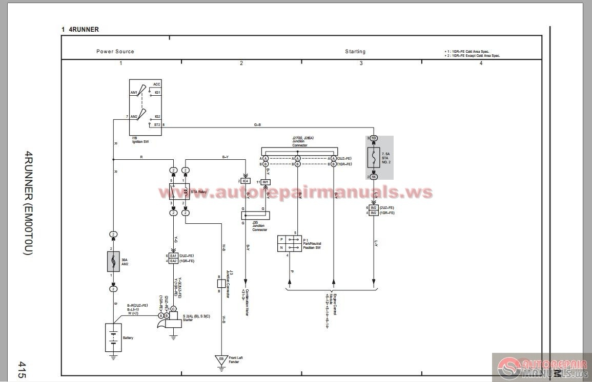 2006 Toyota 4runner Wiring Diagram Diagrams 2004 Carolla Ce 4 Runner Electrical System 1996 1990