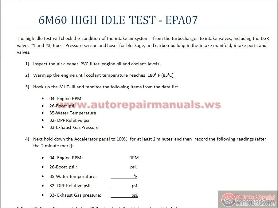 mitsubishi fuso 6m60 high idle test epa 07 auto repair manual rh autorepairmanuals ws Mitsubishi Eclipse Manual Mitsubishi Eclipse Manual