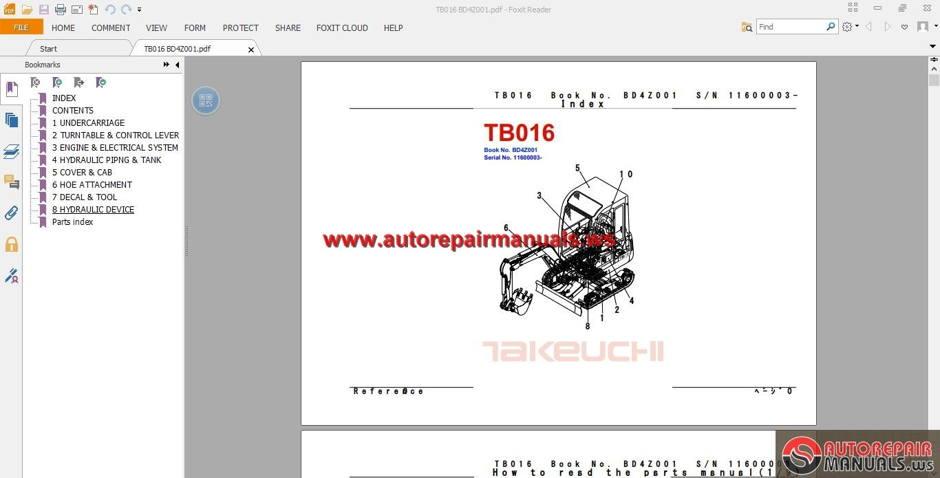 takeuchi excavator tb016 parts manual auto repair manual. Black Bedroom Furniture Sets. Home Design Ideas