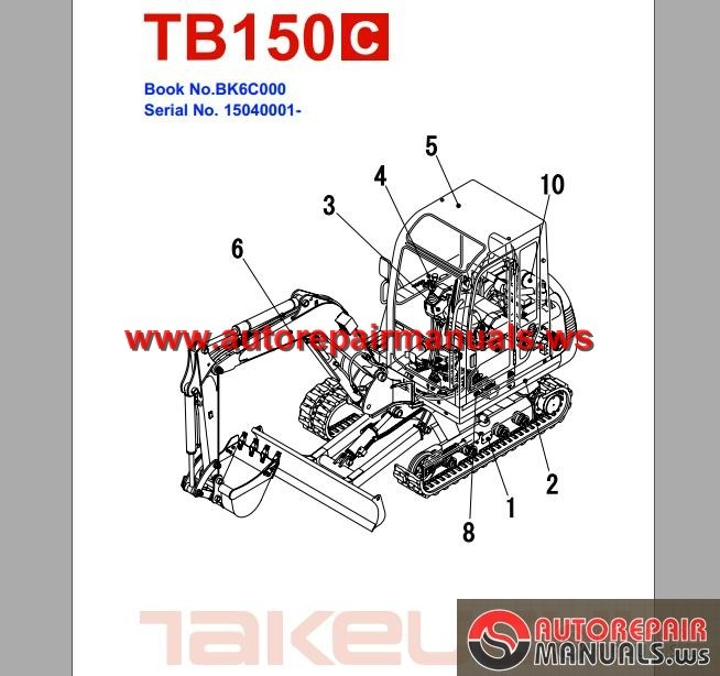 takeuchi excavator tb150 c parts manual auto repair. Black Bedroom Furniture Sets. Home Design Ideas