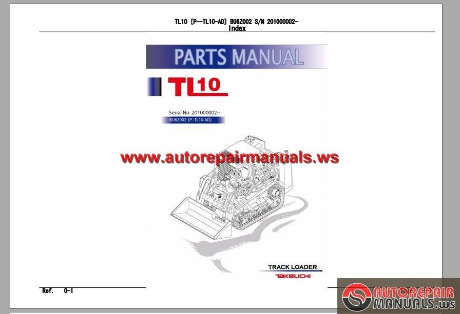 takeuchi track loader p tl10 ad parts manual auto repair. Black Bedroom Furniture Sets. Home Design Ideas