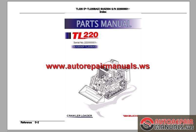 takeuchi track loader p tl220bad parts manual auto. Black Bedroom Furniture Sets. Home Design Ideas