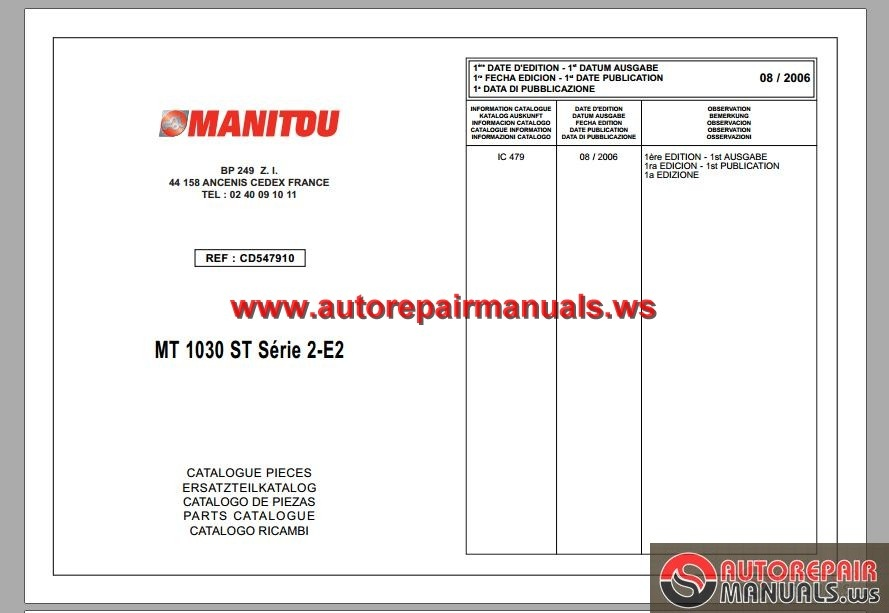 manitou mt 1030 st serie 2 e2 parts catalog auto repair manual rh autorepairmanuals ws merlo telehandler parts manual Manitou Parts Online