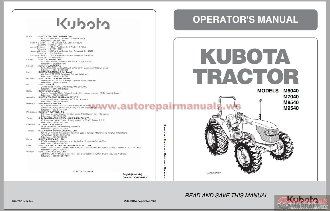 kubota tractor m6040 m7040 m8540 m9540 operators manual auto repair manual forum heavy