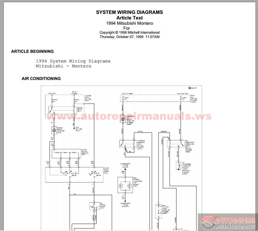 Mitsubishi Pajero 1994    Wiring       Diagram      Auto Repair Manual