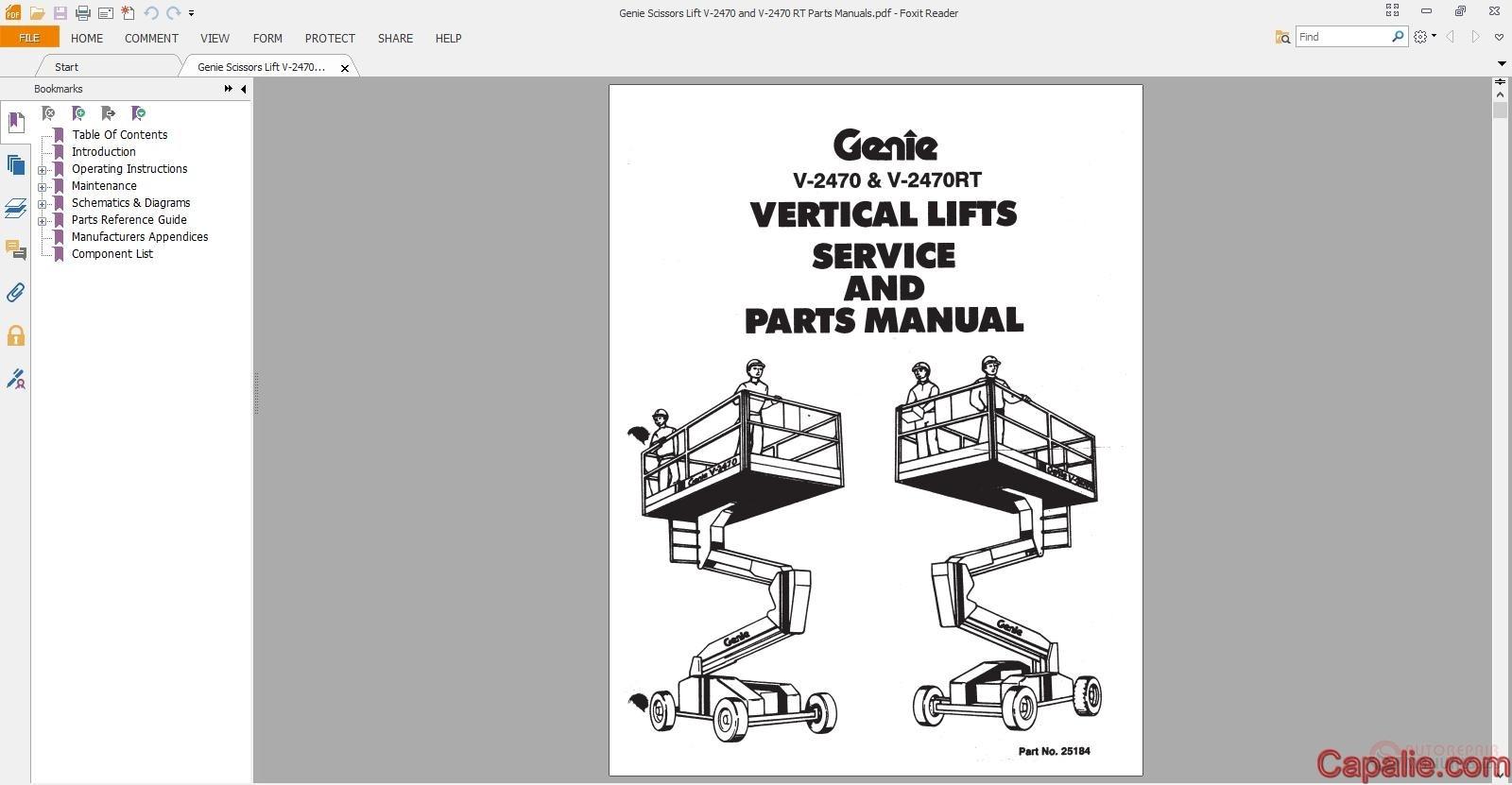 Genie Scissors Lift V-2470 and V-2470 RT Parts Manuals | Auto Repair