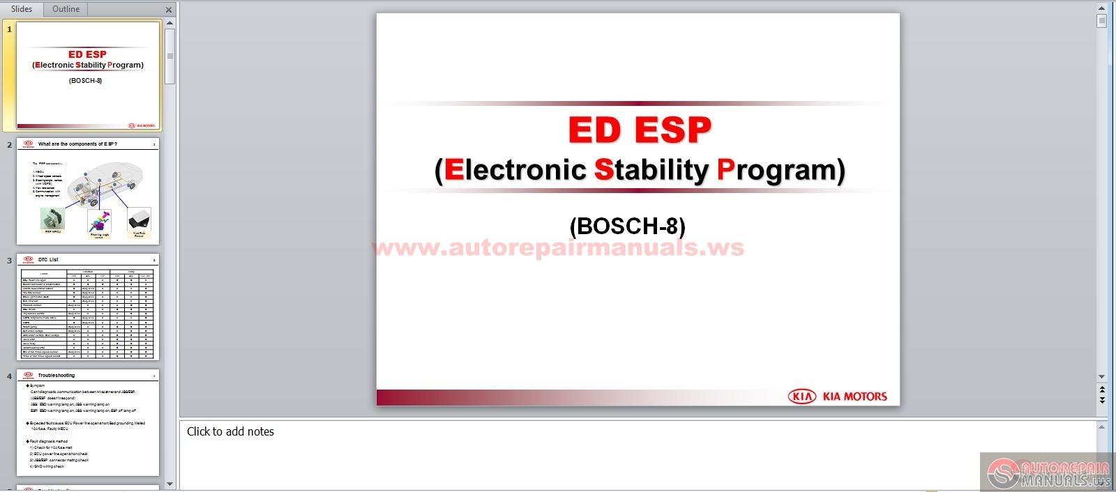 kia ed esp service training