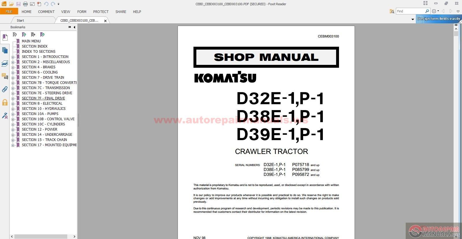 D31 18 Repair Manual Komatsu Dozer D31p Wiring Diagram