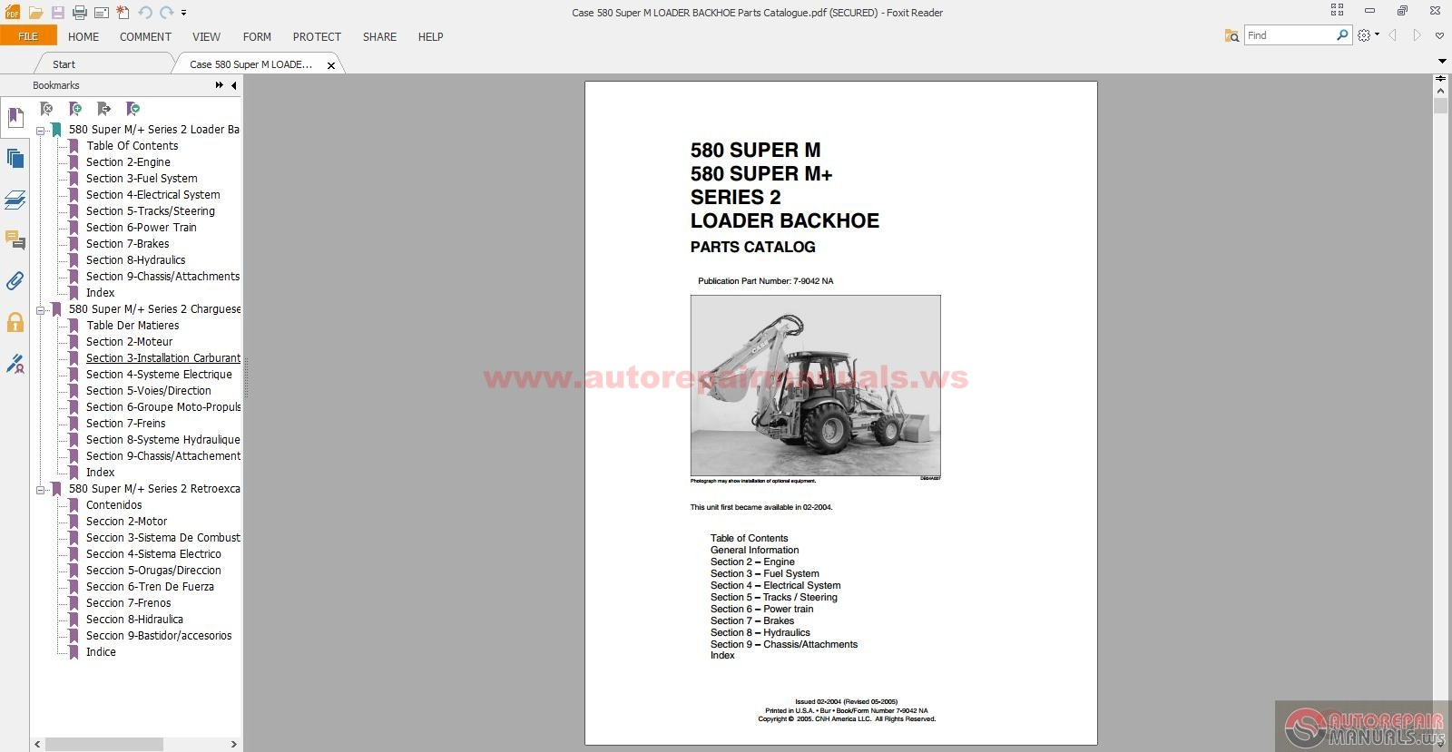 Case 580 Super M Loader Backhoe Parts Catalogue