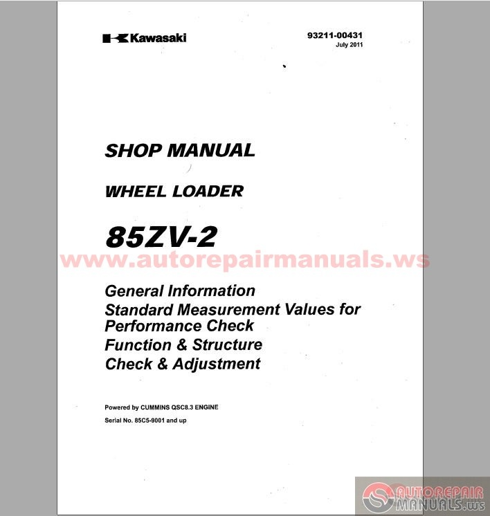 Kawasaki Wheel Loader 85zv 2 Shop Manual Auto Repair