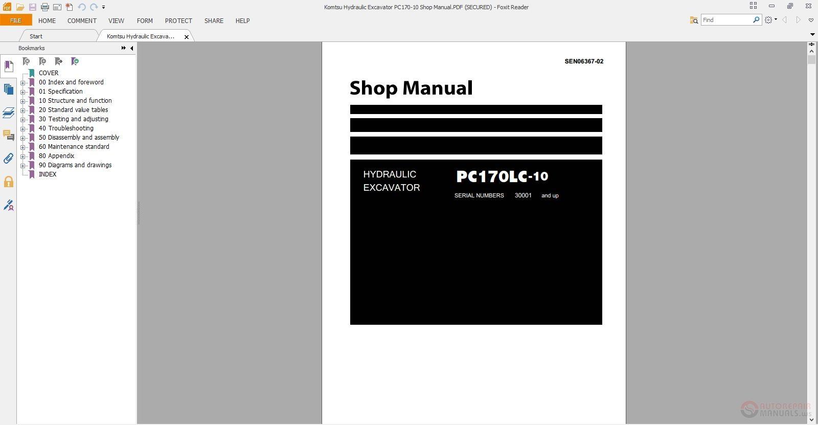komatsu hydraulic excavator pc170 10 shop manual auto. Black Bedroom Furniture Sets. Home Design Ideas