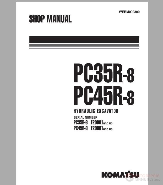 komatsu hydraulic excavator pc35 45r8 shop manual auto. Black Bedroom Furniture Sets. Home Design Ideas
