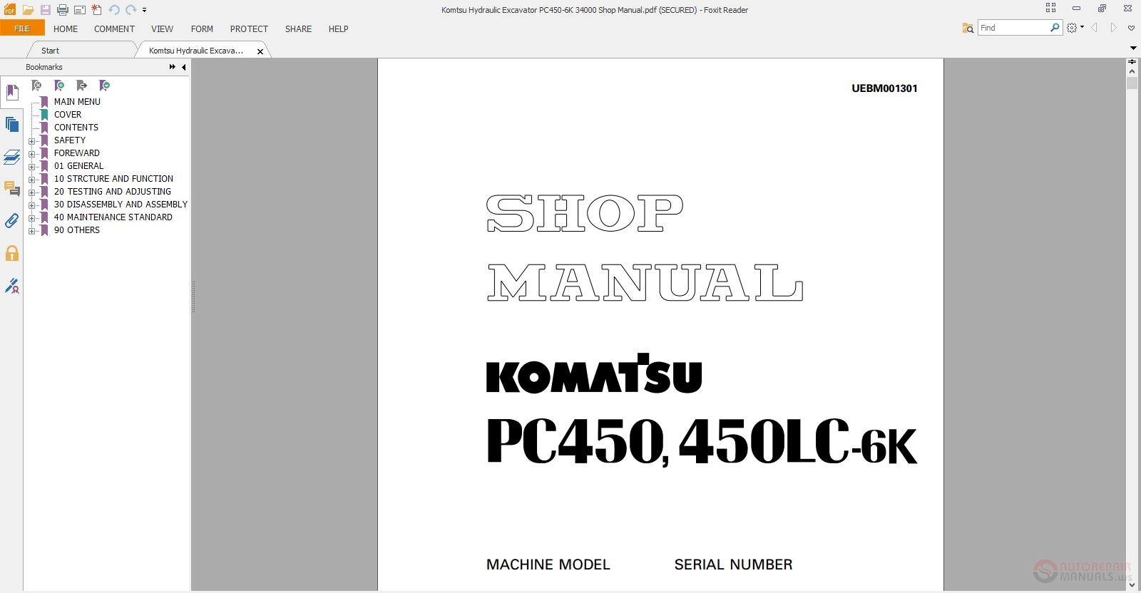 komatsu hydraulic excavator pc450 6k 34000 shop manual. Black Bedroom Furniture Sets. Home Design Ideas