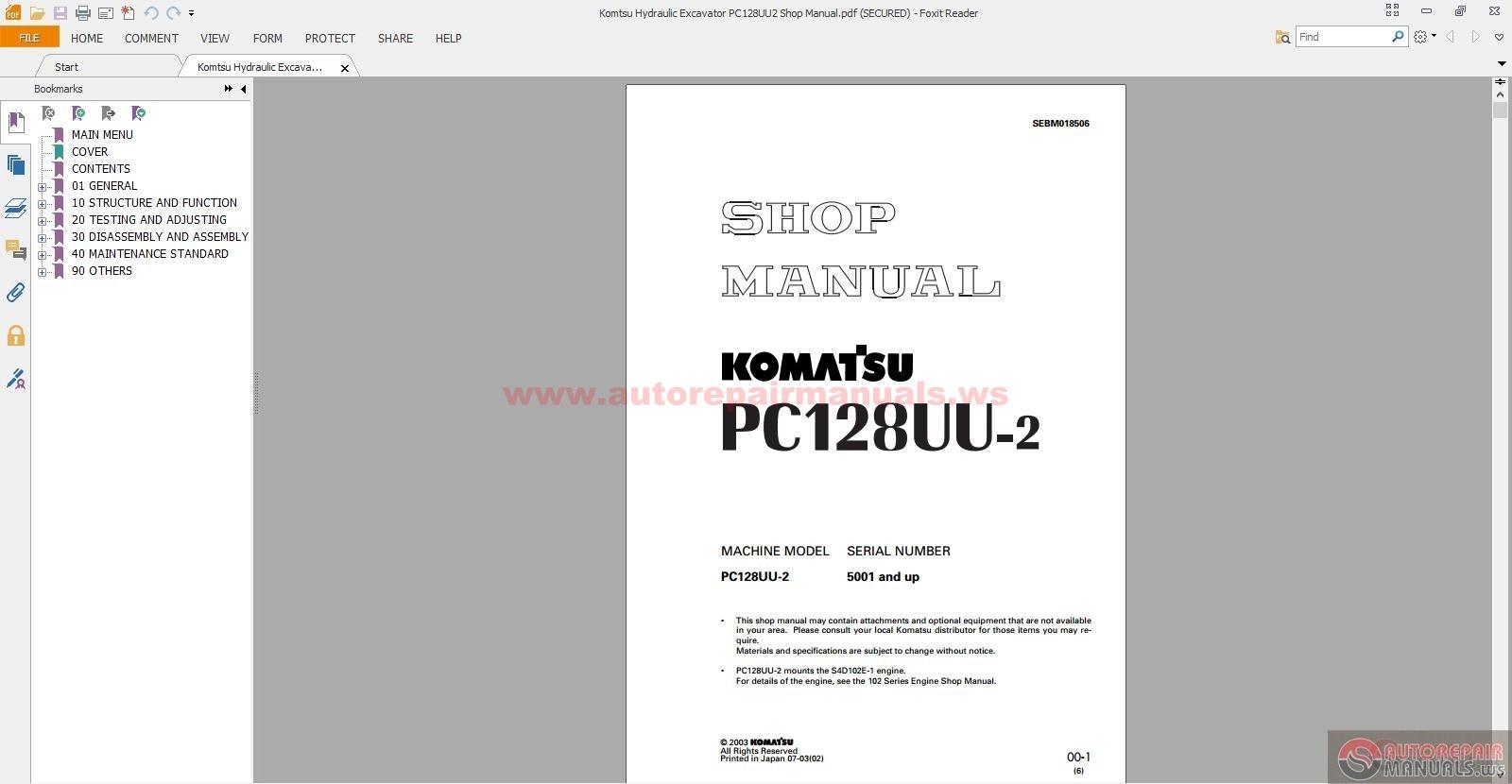 komatsu hydraulic excavator pc128uu2 shop manual auto. Black Bedroom Furniture Sets. Home Design Ideas