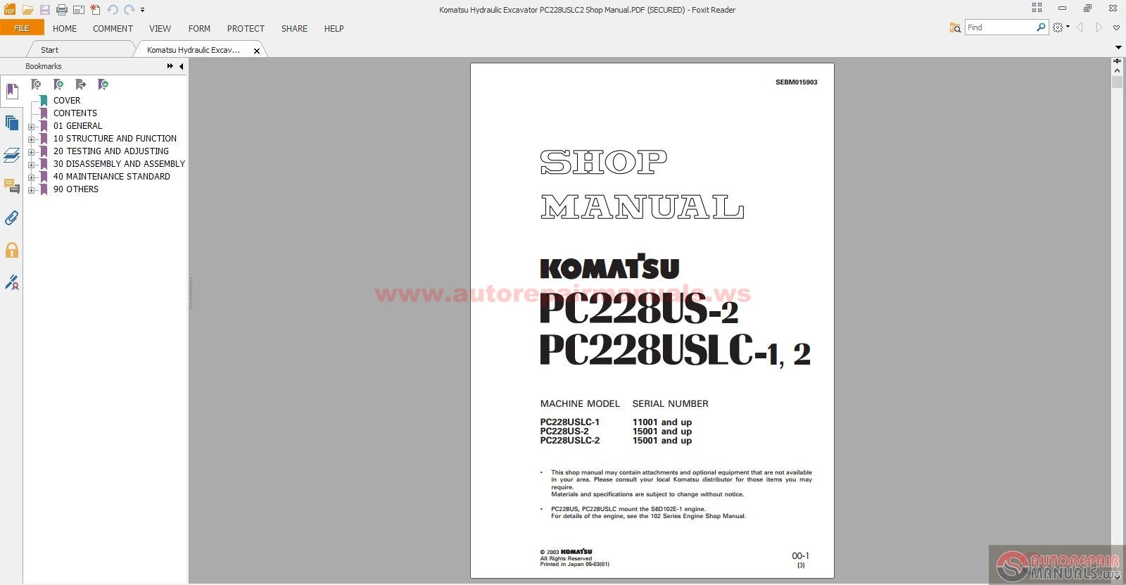 komatsu hydraulic excavator pc228uslc2 shop manual auto. Black Bedroom Furniture Sets. Home Design Ideas
