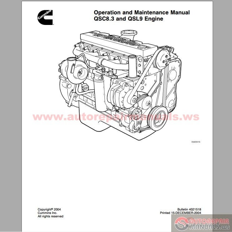 cummins engine qsc8 3 and qsl9 operation  u0026 maintenance manual