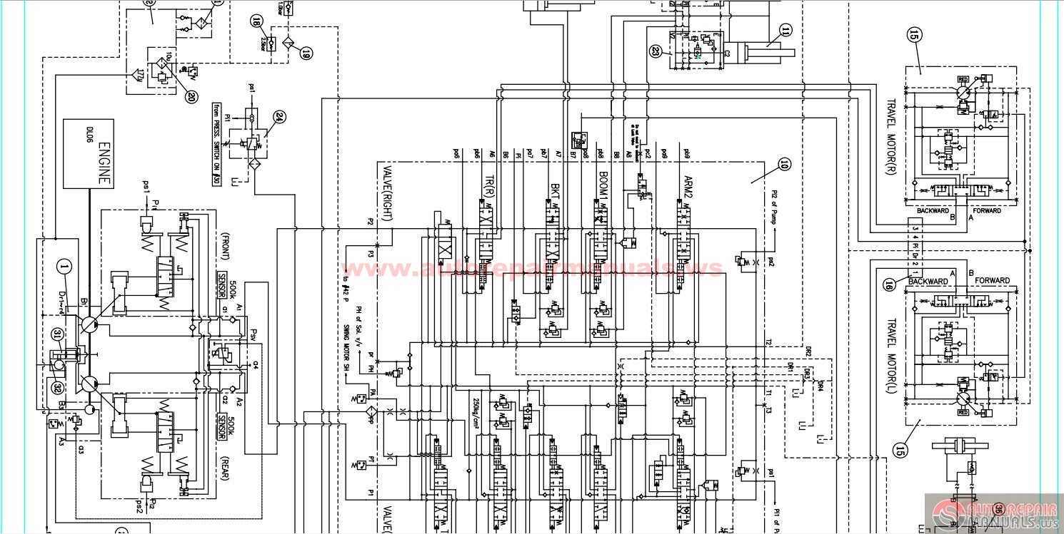 doosan crawler excavator dx225 hydraulic diagram