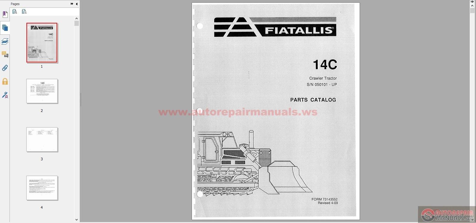 Fiat Allis 14c Parts : Fiat allis dozers c pm sn up parts book auto
