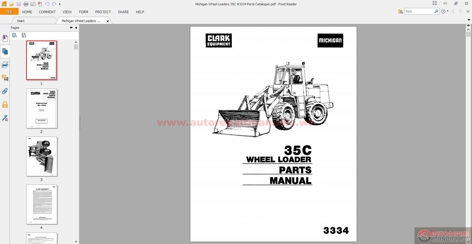 Michigan Wheel Loaders 35c  3334 Parts Catalogue