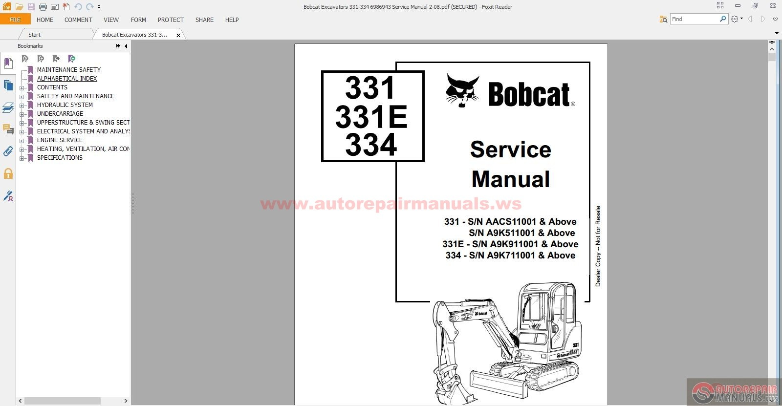 bobcat excavators service manual auto bobcat excavators 331 334 6986943 service manual 2 08 size 43 2mb language english type pdf pages 848