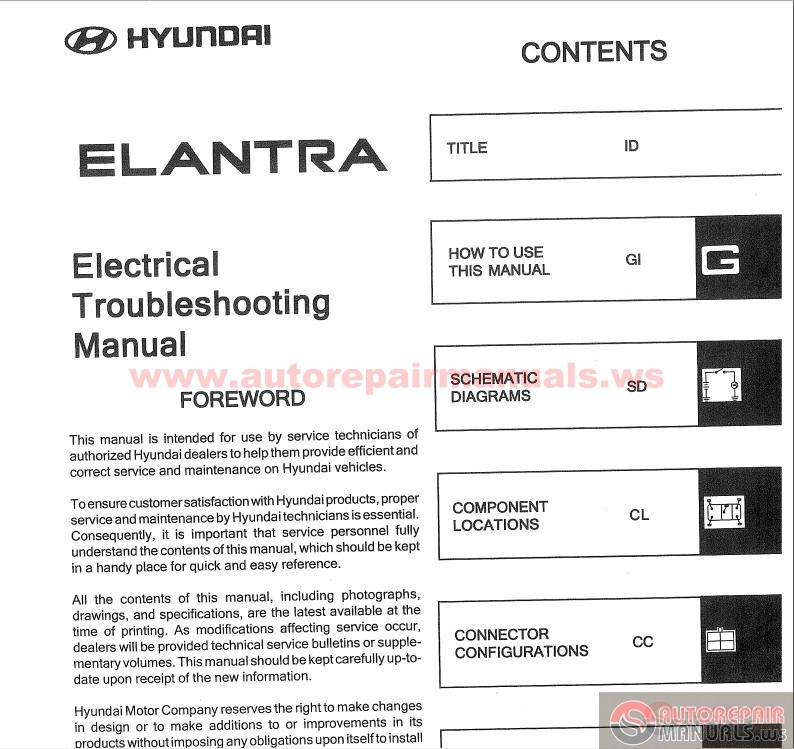 Hyundai Elantra 2004 Electrical Troubleshooting Manual