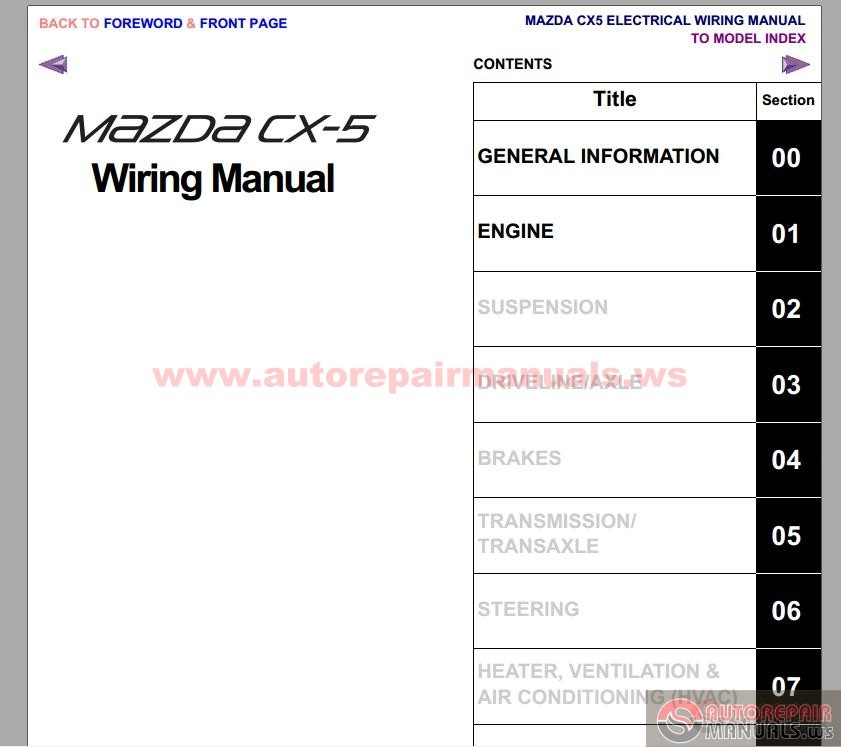 2010 mazda 5 wiring diagram: mazda cx-5 2012 workshop repair manual
