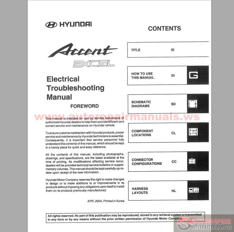 hyundai accent 2005 electrical troubleshooting manual auto repair rh autorepairmanuals ws hyundai accent rb workshop manual (2012) hyundai accent workshop manual download pdf free