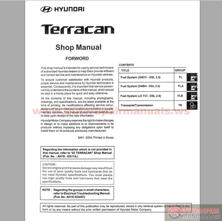 hyundai terracan 2005 service manual auto repair manual. Black Bedroom Furniture Sets. Home Design Ideas