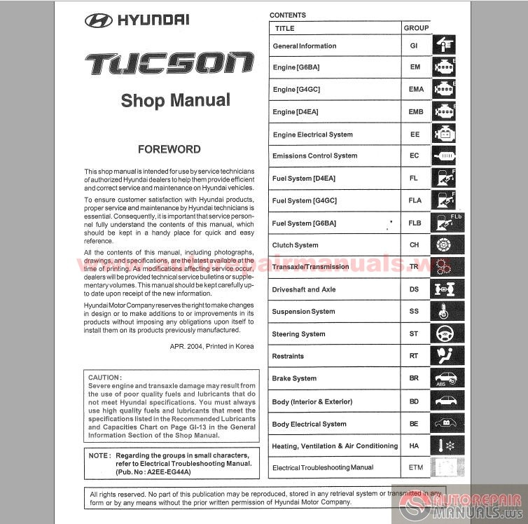 hyundai tucson 2004 service manual auto repair manual. Black Bedroom Furniture Sets. Home Design Ideas