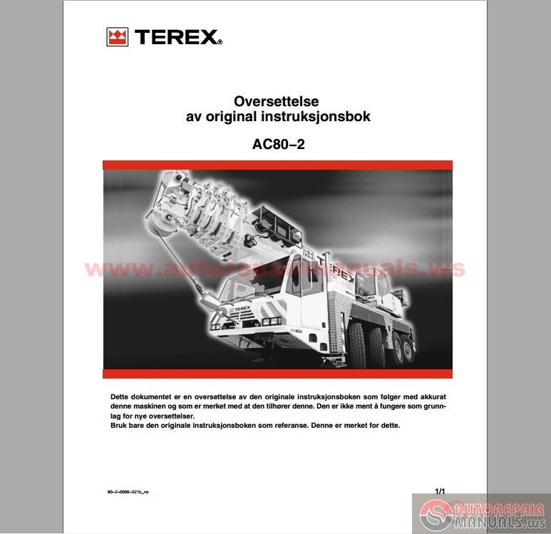 terex demag ac 80 2 operation and maintenance manual. Black Bedroom Furniture Sets. Home Design Ideas