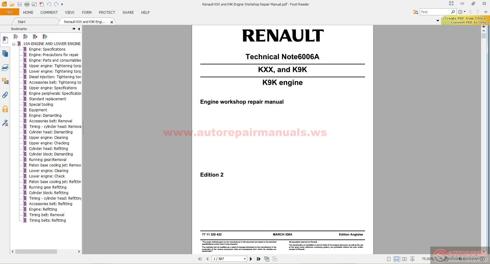 Renault Kxx And K9k Engine Workshop Repair Manual