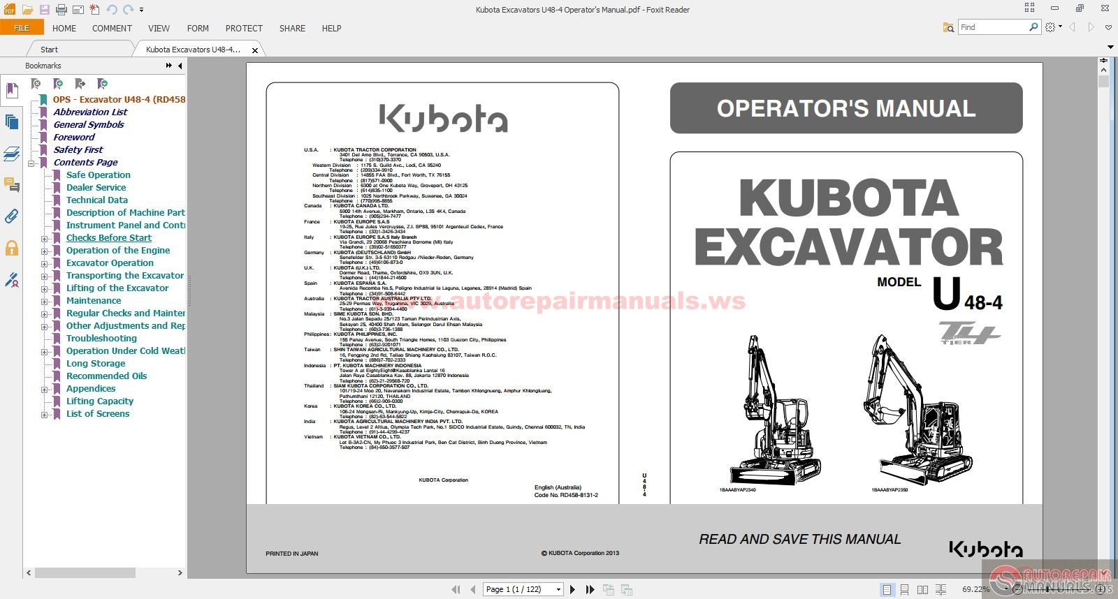 kubota excavators u48 4 operator 39 s manual auto repair. Black Bedroom Furniture Sets. Home Design Ideas