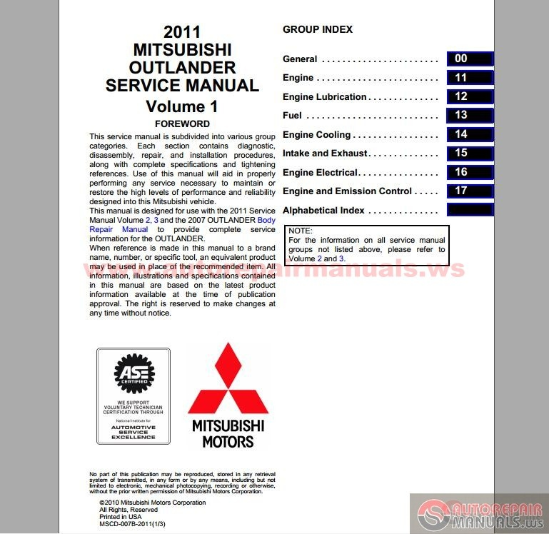Mitsubishi 2011 Outlander Service Manual