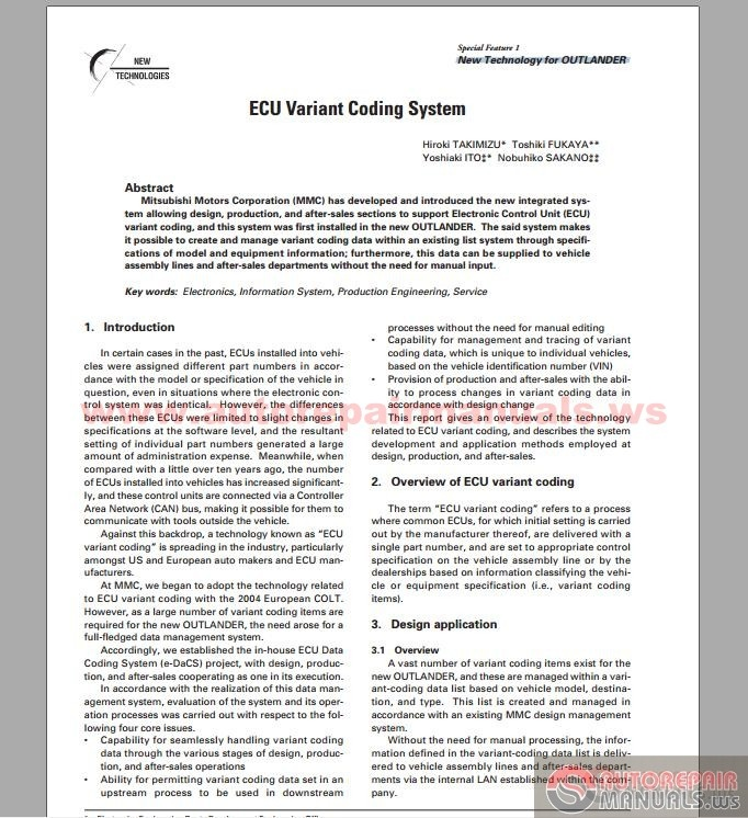 Mitsubishi Technical Review 2006 Ecu Variant Coding System