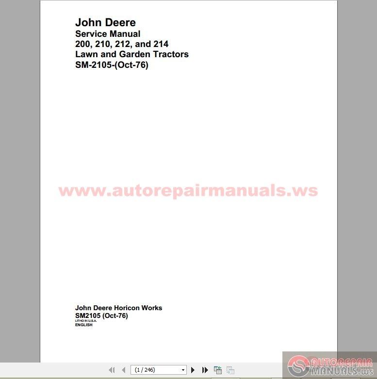John Deere 200 210 212 And 214 Service Manual Auto Repair