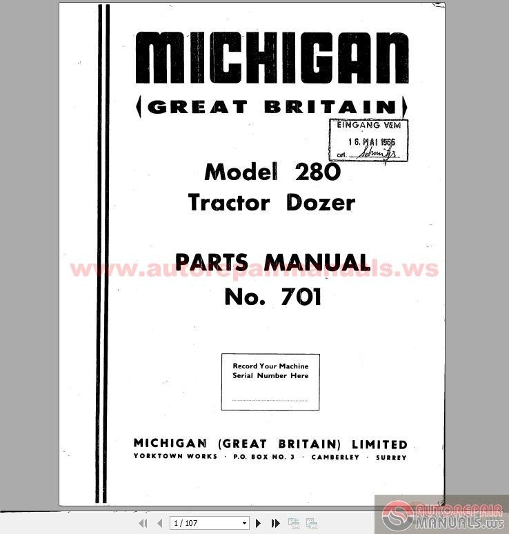 volvo michigan wheel dozers 280i  701 17 part book manual