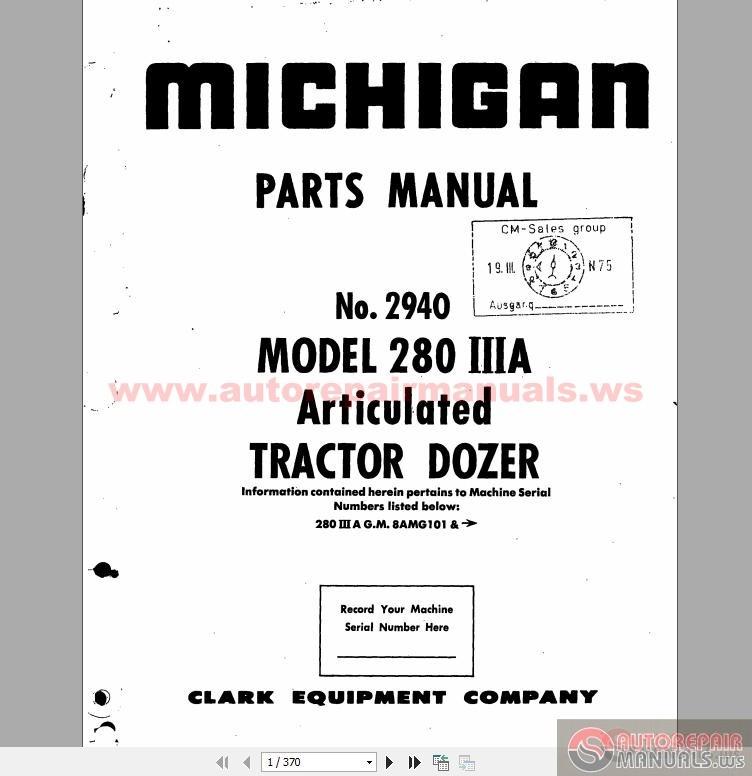 volvo michigan wheel dozers 280 iiia  2940 13 part book